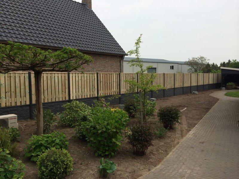 hout beton schutting grenen huis tuin boom